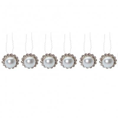 6 Strass Haarnadeln mit Perle - 1