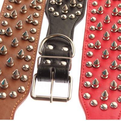 Metall-Nieten dickes Pu-Leder Hundehalsband Designer 65cm Rot, Schwarz, Braun - 1