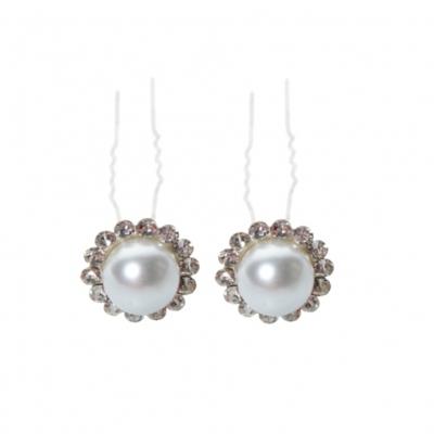 2 Strass Haarnadeln mit Perle - 1