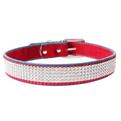 Hundehalsband Strasshalsband groß rot - 1