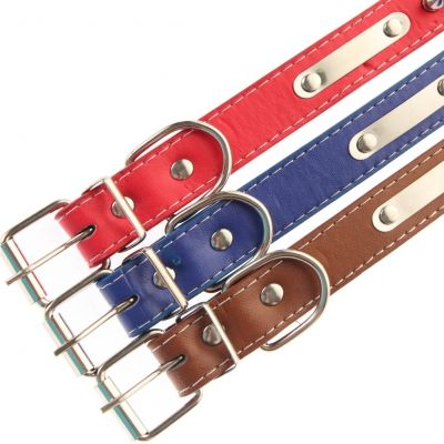 Metall-Nieten Hundehalsband Designer Rot, Blau, Braun - 3