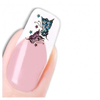 Nagel Sticker Nail Art Tattoo Blau Lila Schmetterling Aufkleber Neu! - 1