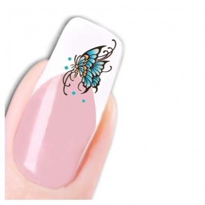Nagel Sticker Nail Art Tattoo Blau Gelb Schmetterling Aufkleber Neu! - 1