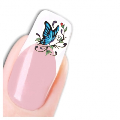 Nagel Sticker Nail Art Tattoo Blauer Schmetterling Aufkleber Neu! - 1