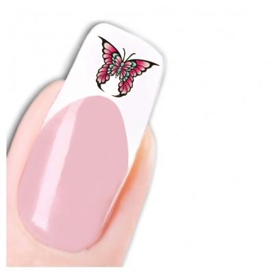 Nagel Sticker Nail Art Tattoo Rosa Lila Schmetterling Aufkleber Neu! - 1