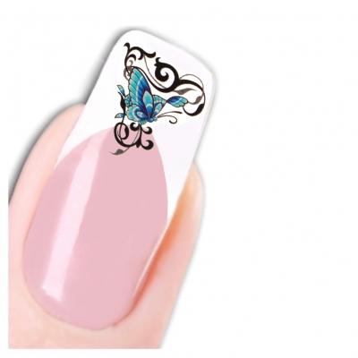 Nagel Sticker Nail Art Tattoo Blau Ornamente Schmetterling Aufkleber Neu! - 1