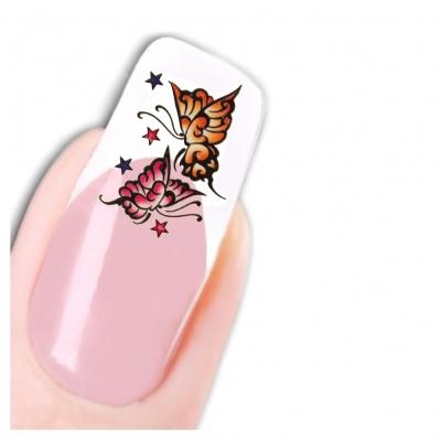 Nagel Sticker Nail Art Tattoo Gelb Rosa Schmetterling Aufkleber Neu! - 1