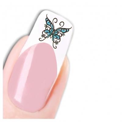 Nagel Sticker Nail Art Tattoo Blau Schwarz Lila Schmetterling Aufkleber Neu! - 1