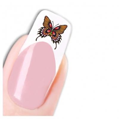 Nagel Sticker Nail Art Tattoo Gelb Braun Schmetterling Aufkleber Neu! - 1