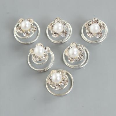 6 Strass Blüten Curlies mit Perle - 3