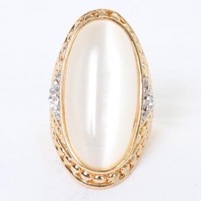 Edelstahl Ring großer ovaler glänzender Stein Modeschmuck Luxus - 1