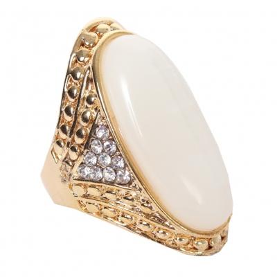 Edelstahl Ring großer ovaler glänzender Stein Modeschmuck Luxus - 2