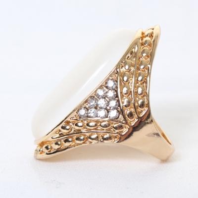 Edelstahl Ring großer ovaler glänzender Stein Modeschmuck Luxus - 3