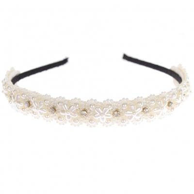 Designer Luxus Haarreifen mit Perlen und Strasssteine - 1