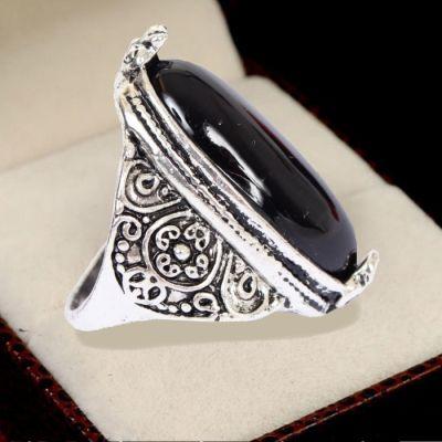 Edelstahl Ring gro�er ovaler Stein Modeschmuck Luxus Marmor-Optik - 1