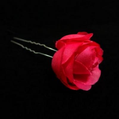 2 Rosen Haarnadeln Braut Kommunion Hochzeit Blumen Haarschmuck rot - 1