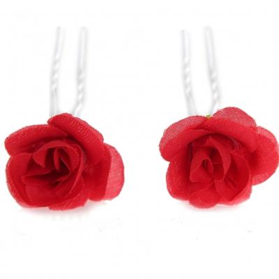 2 Rosen Haarnadeln Braut Kommunion Hochzeit Blumen Haarschmuck rot - 2
