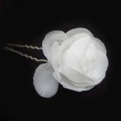 2 Rosen Haarnadeln Braut Kommunion Hochzeit Blumen Haarschmuck weiß - 1