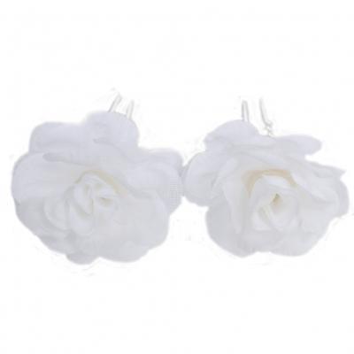 2 Rosen Haarnadeln Braut Kommunion Hochzeit Blumen Haarschmuck weiß - 2