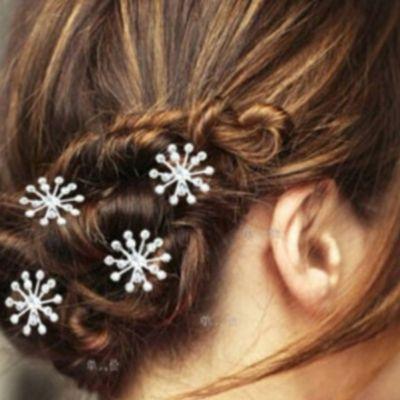 2 Strass Perlen Haarnadeln Braut Kommunion Hochzeit Blumen Haarschmuck - 1