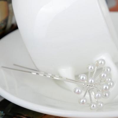2 Strass Perlen Haarnadeln Braut Kommunion Hochzeit Blumen Haarschmuck - 2
