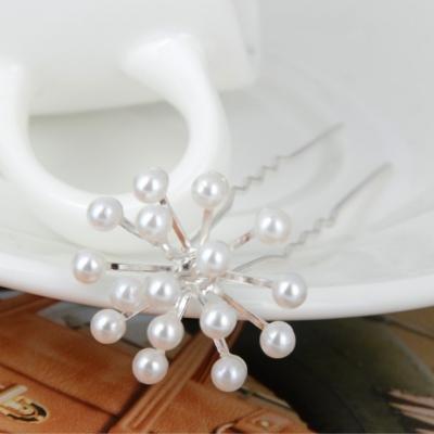 2 Strass Perlen Haarnadeln Braut Kommunion Hochzeit Blumen Haarschmuck - 3