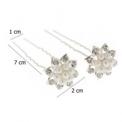 2 Strass Perlen Haarnadeln Braut Kommunion Hochzeit Blumen Haarschmuck - 4