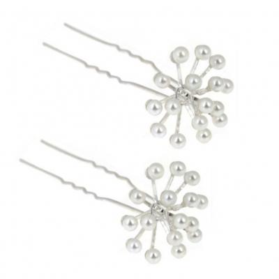 2 Strass Perlen Haarnadeln Braut Kommunion Hochzeit Blumen Haarschmuck - 5