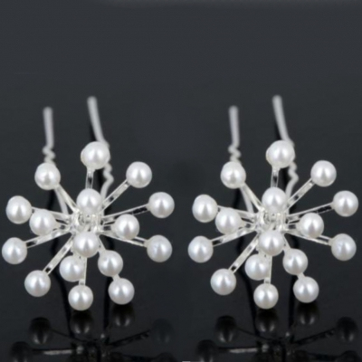 2 Strass Perlen Haarnadeln Braut Kommunion Hochzeit Blumen Haarschmuck Modell 1 - 3