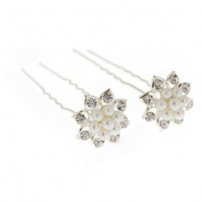 2 Strass Perlen Haarnadeln Braut Kommunion Hochzeit Blumen Haarschmuck Modell 2 - 2
