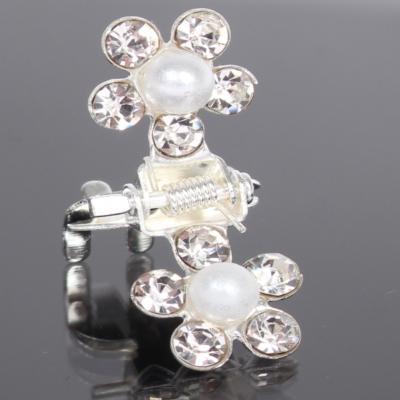 Mini Haarklammern Perlen Strass Hochzeit Haarclip Haarkneifer Haarspange Claw - 3