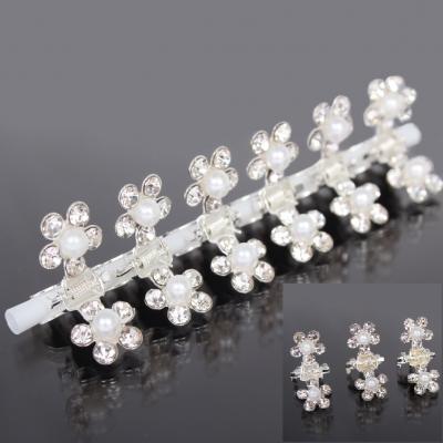 Mini Haarklammern Perlen Strass 6 Stück - 1