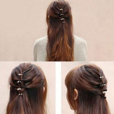 Mini Haarklammern Perlen Strass 6 Stück - 2