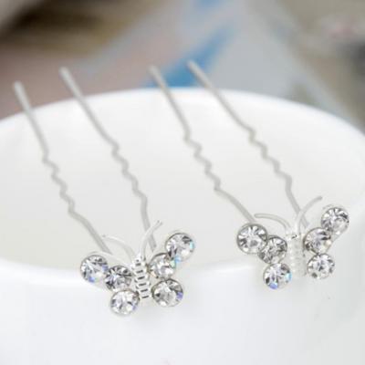 6 Schmetterling Haarnadeln Braut Kommunion Hochzeit Haarschmuck - 1