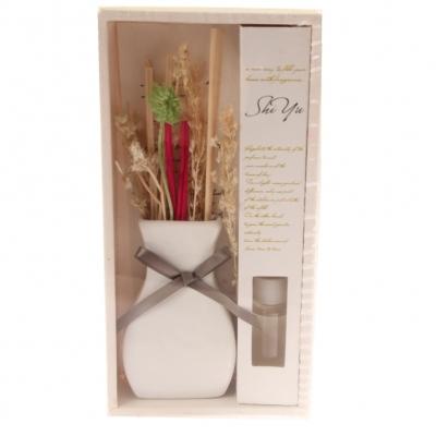 Duftöl Deko Keramik Vase mit Schleife verschiedene Düfte 30 ml Graue Schleife Lilien - 1