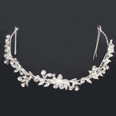 Luxus Strass Diadem Tiara in silber - 2