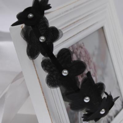 Haarreif mit Blumen und Perlen - 1