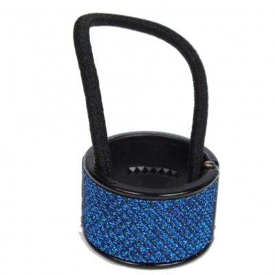 Glitzernder Haarring in Blau Schwarzer Rand - 1