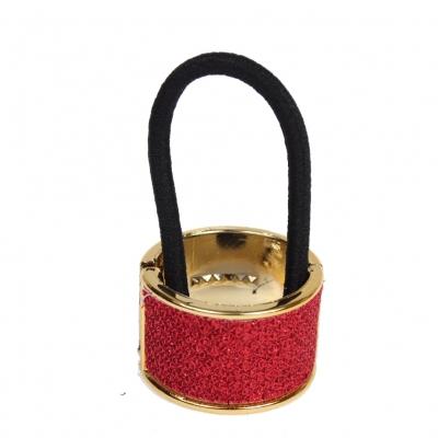 Glitzernder Haarring in Rot Goldener Rand - 1