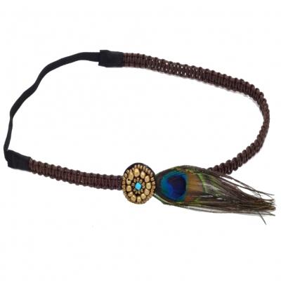 Haarband mit Pfau Feder - 1