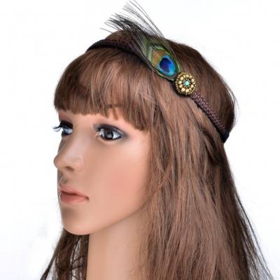 Haarband mit Pfau Feder - 2