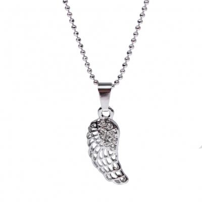 Halskette mit Feder Edelstahl Anhänger Engelsflügel Kette Strass - 1