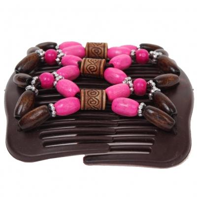 Trend African Hairclip Haarklammer mit Ornamenten rosa - 3