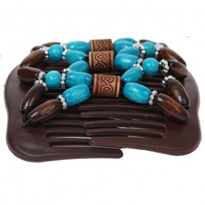 Trend African Hairclip Haarklammer mit Ornamenten türkis - 1