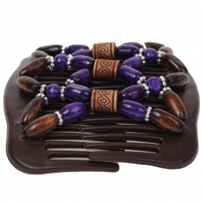 Trend African Hairclip Haarklammer mit Ornamenten lila - 1