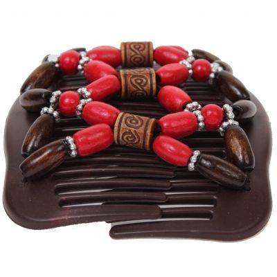 Trend African Hairclip Haarklammer mit Ornamenten rot - 1