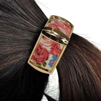 Schöner Quadratischer Haarring mit Blumendesign - 1