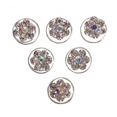 6 Strass und Perlen Blüten Curlies Modell 2 - 6 Stück - 1