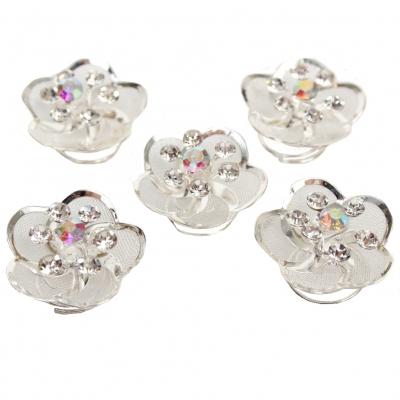 5 Strass und Perlen Blüten Curlies Modell 3 - 5 Stück - 1