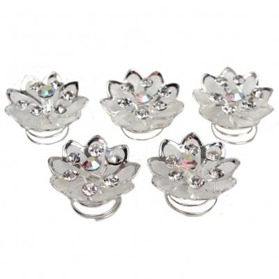 5 Strass und Perlen Blüten Curlies Modell 5 - 5 Stück - 1